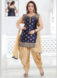 Navy Blue Silk Designer Salwar Kameez