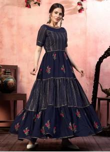 Navy Blue Silk Festival Designer Gown