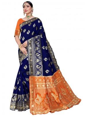 Navy Blue Silk Festival Designer Saree