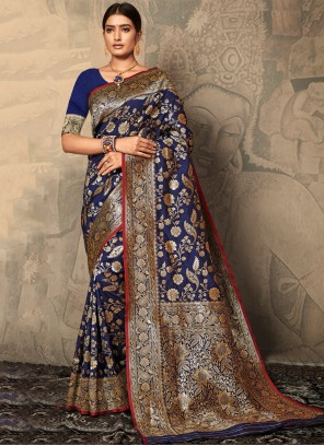 Navy Blue Silk Festival Trendy Saree
