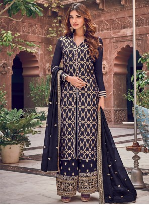 Navy Blue Silk Palazzo Designer Salwar Suit