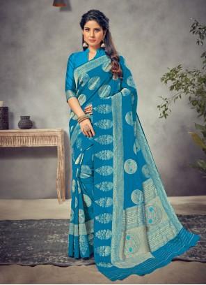 Navy Blue Silk Weaving Trendy Saree