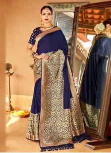 Navy Blue Silk Wedding Classic Saree
