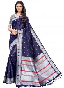 Navy Blue Silk Woven Trendy Saree