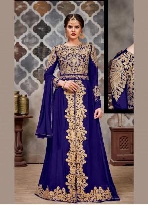 Navy Blue Stone Faux Georgette Long Length Trendy Salwar Suit