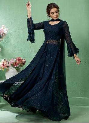 Navy Blue Stone Work Faux Georgette Salwar Suit