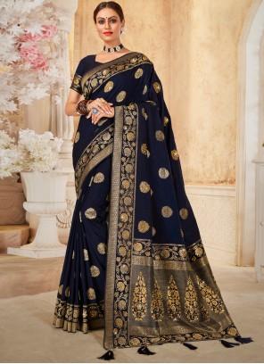 Navy Blue Swarovski Silk Traditional Designer Saree