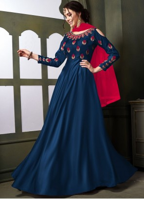 Navy Blue Tafeta Silk Embroidered Anarkali Salwar Kameez