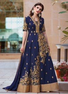 Navy Blue Tafeta silk Floor Length Anarkali Suit