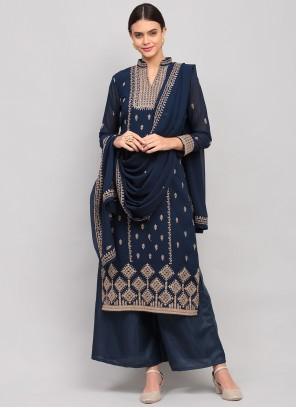 Navy Blue Thread Work Designer Palazzo Salwar Kameez