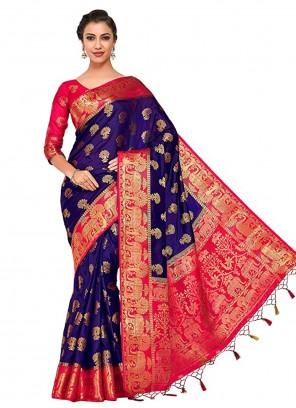 Navy Blue Traditional Designer Saree