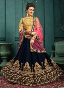 Navy Blue Velvet Embroidered A Line Lehenga Choli