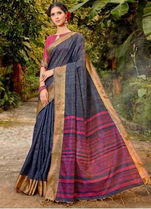 Navy Blue Weaving Art Banarasi Silk Traditional Saree