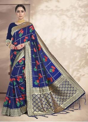 Navy Blue Weaving Art Silk Ceremonial Saree
