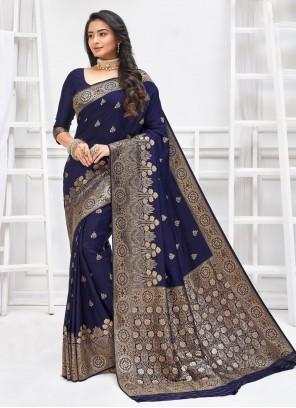 Navy Blue Weaving Art Silk Traditional Designer Saree