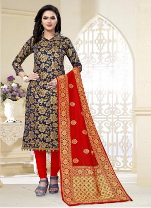 Navy Blue Weaving Banarasi Silk Churidar Designer Suit