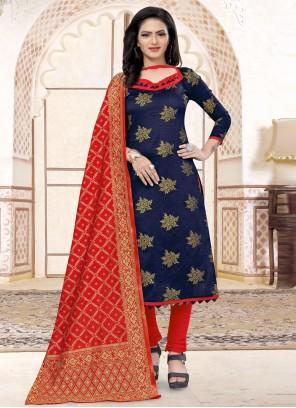 Navy Blue Weaving Banarasi Silk Churidar Salwar Suit