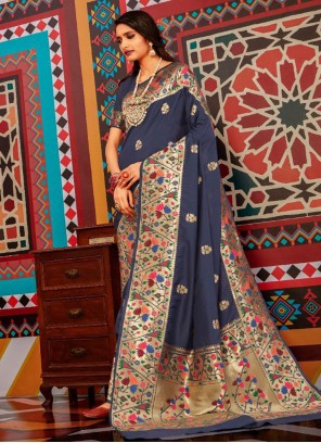 Navy Blue Weaving Ceremonial Bollywood Saree