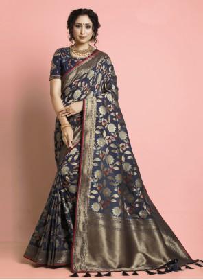 Navy Blue Weaving Ceremonial Designer Traditional Saree