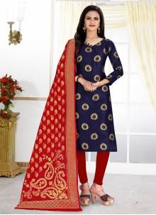 Navy Blue Weaving Churidar Designer Suit