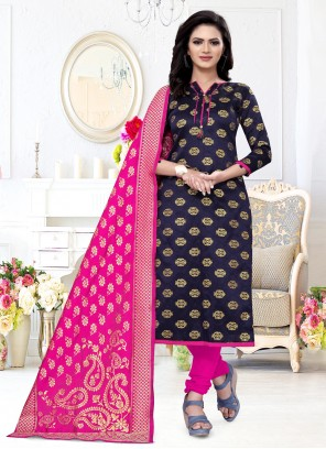 Navy Blue Weaving Churidar Suit