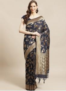 Navy Blue Weaving Designer Saree