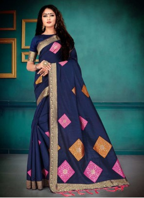 Navy Blue Weaving Party Bollywood Saree