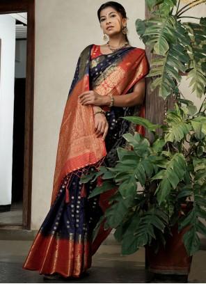 Navy Blue Weaving Raw Silk Contemporary Saree
