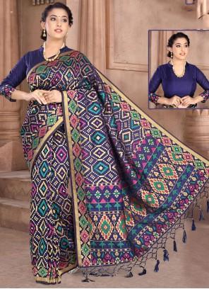 Navy Blue Weaving Silk Classic Designer Saree