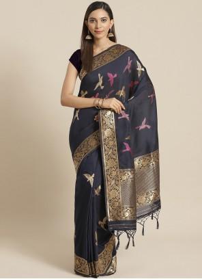 Navy Blue Weaving Silk Traditional Saree