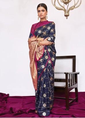 Navy Blue Weaving Trendy Saree