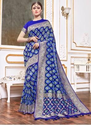 Navy Blue Weaving Viscose Traditional Designer Saree