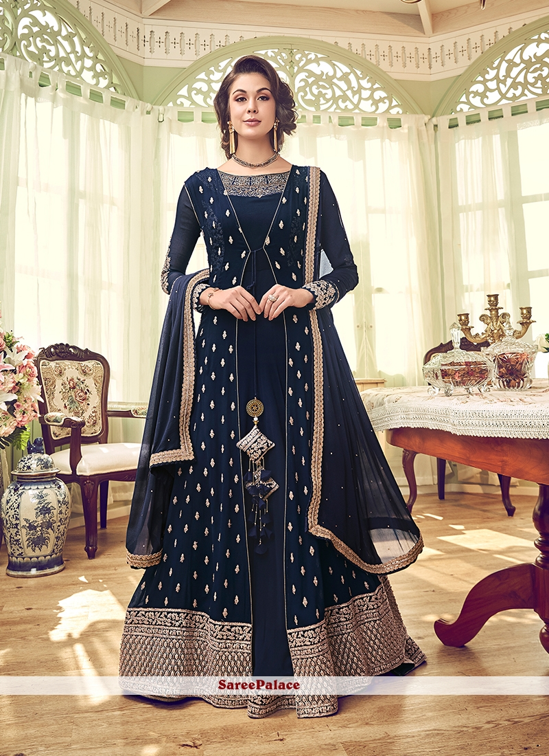 Navy Blue Wedding Georgette Designer Salwar Suit
