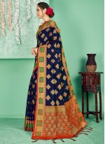 Navy Blue Woven Ceremonial Traditional Saree
