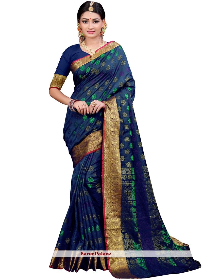 Navy Blue Woven Cotton Silk Classic Saree