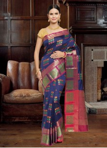 Navy Blue Woven Party Traditional Saree