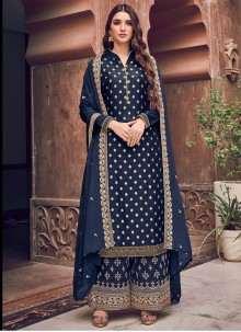Navy Blue Woven Party Trendy Palazzo Salwar Suit
