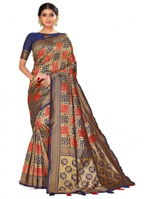 Navy Blue Woven Traditional Designer Saree