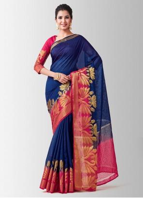 Navy Blue Zari Linen Designer Traditional Saree