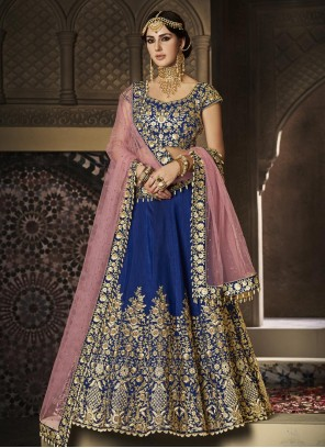 Navy Blue Zari Work Handloom silk Lehenga Choli