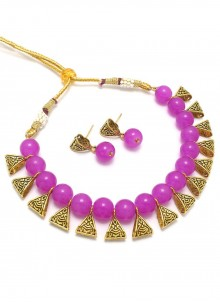 Necklace Set Moti in Gold and Magenta