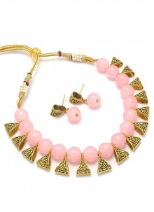 Necklace Set Moti in Gold and Pink