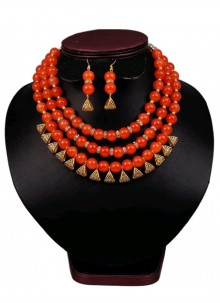 Necklace Set Moti in Gold and Red