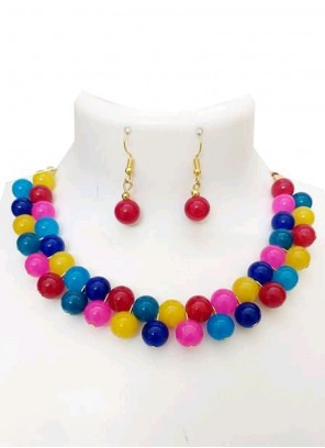 Necklace Set Stone Work in Multi Colour