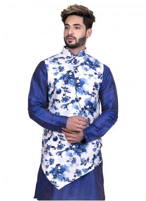 Nehru Jackets Floral Print Art Silk in White