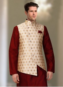 Nehru Jackets Machine Embroidery  Brocade in Cream