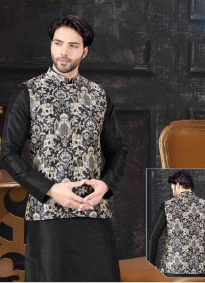 Nehru Jackets Printed Art Silk in Black and Gold