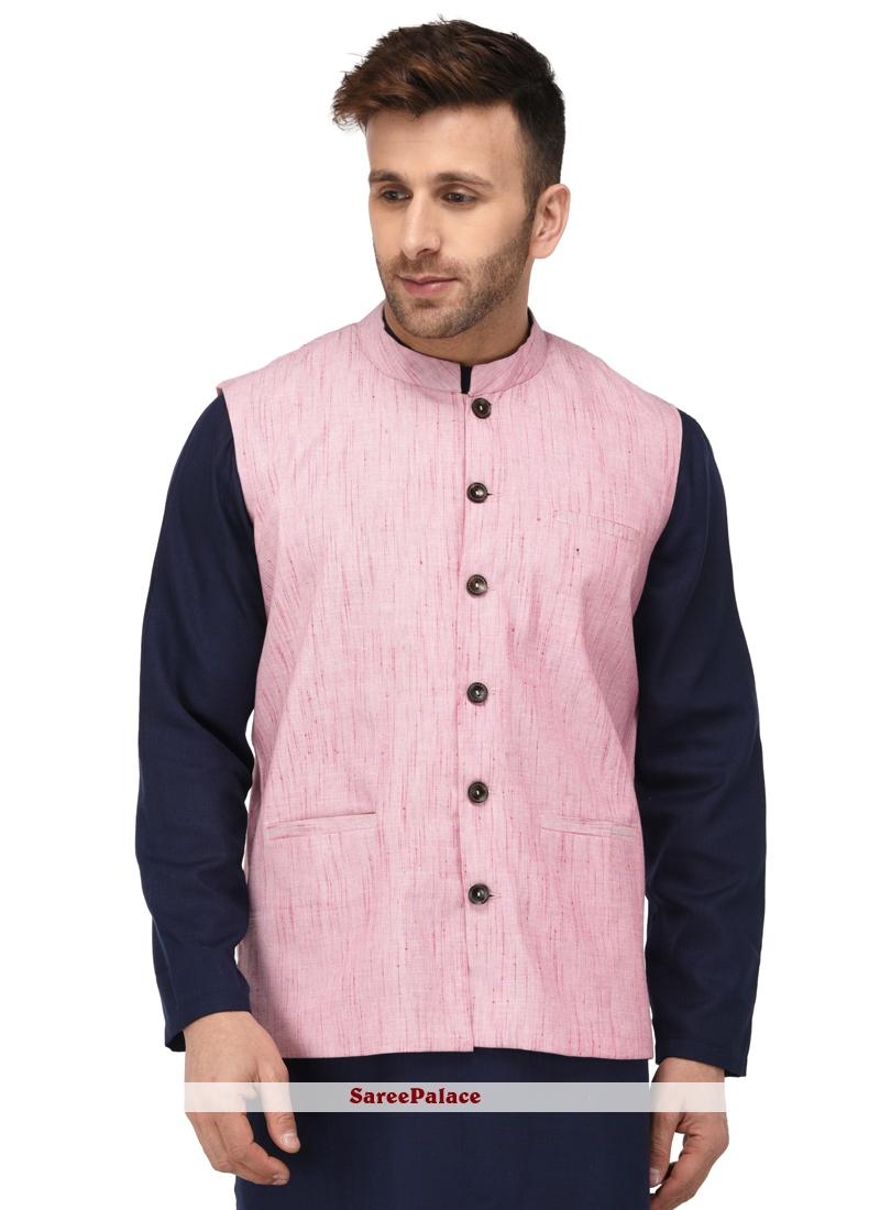 Nehru Jackets Weaving Cotton   in Pink