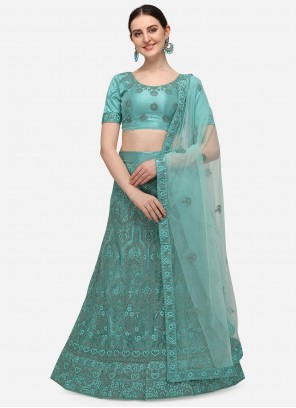 Net Embroidered A Line Turquoise Lehenga Choli
