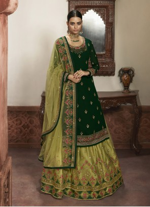Net A Line Lehenga Choli in Green
